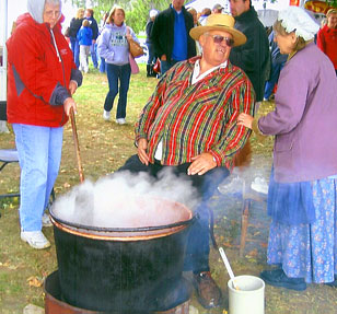 See how they stir the apples down to apple butter, at the Apple Stir Fall Harvest Festival at MacQueen Apple Orchard, Cider Mill, Farm Market, and Pick Your Own Apples, Holland, Ohio, west of Toledo