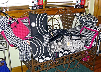 Pillows, quilts, throws, purses, and small furnishings at Martha's Gifts & Boutique at the MacQueen Apple Orchard, Cider Mill, Farm Market, and Pick Your Own Apples, Holland, Ohio, west of Toledo